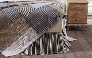 Dark Gray & Antique White Ticking Stripe Bed Skirt Ashmont Gathered Dust Ruffle