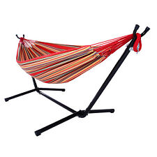 New listing Double Hammock With Space Saving Steel Stand w/ Portable Carrying Case Red Strip