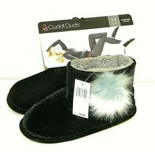 Women's, Cuddle Duds, Black, Slippers/Booties with Pom Poms, Med (7-8), NWT