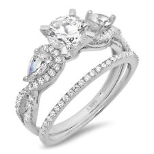 2.0 ct Round Cut Wedding Bridal Promise Engagement Ring band set 14k White Gold