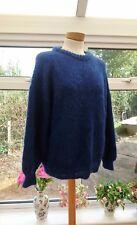 Gorgeous MOHAIR dark blue knitted chunky mohair & wool blend jumper size M