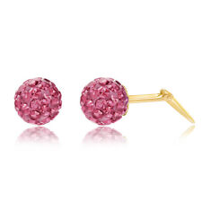 9ct yellow gold 6mm pink glitterball crystal Andralok stud earrings / Gift box