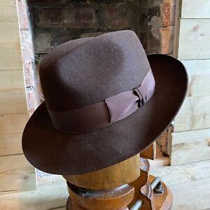 Christys' Hat Brown Fedora Trilby EU 60 UK 7 3/8 US 7 1/2 Fur Felt