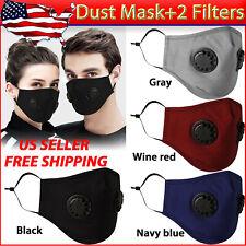 US Cotton Washable/Reusable ANTI-FOG Respirator Vent Face Mask + 2 PM2.5 Filter