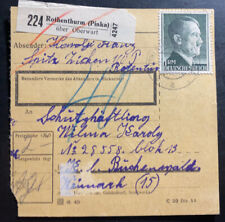 1944 Rothenthurm Germany Parcel Receipt Cover To Buchenwald Concentration Camp