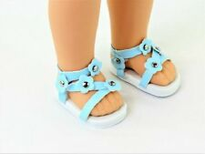 "Blue Flower Sandals Fits Wellie Wishers 14.5"" American Girl Clothes Shoes"