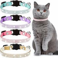 Weewooday 4 Pieces Rhinestones Cat Collars Breakaway Cat Collar with Bell Bli.