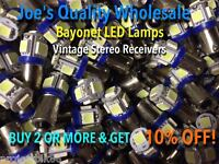 (3)BAYONET LED-LAMPS/6.3V-COOL BLUE(1847)KT-6500 KA-6100/METER RECEIVER BULBS