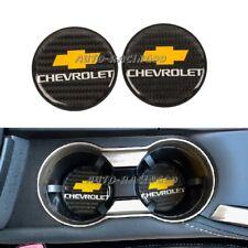 2Pcs Chevrolet Carbon Fiber Car Cup Holder Pad Water Cup Slot Non-Slip Mat