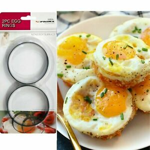 2PC EGG RINGS SET KITCHEN CRAFT NON STICK POACHING POACHED OR FRIED EGG RING