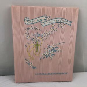 Vintage 1952 NEW Catholic Baby Record Book Pink Satin Cover in Original Box