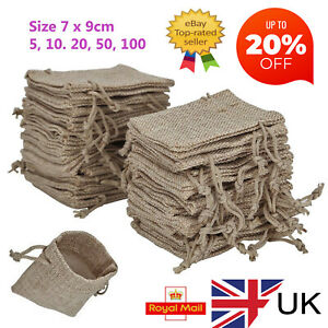 Drawstring bags, Hessian Burlap Wedding favour natural gift pouches