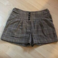 Wool Checked High Rise Shorts for Women