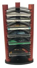 Black And Wood 20 CD Tower Rack. Previously Enjoyed In Good Condition
