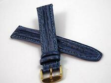Hirsch Mens Vintage Watch Band Water Resistant Blue Leather 18mm Gold Tn Buckle