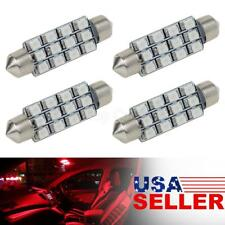 4x Red 12SMD LED Interior Dome Map Light Bulbs 42mm for Chevrolet Silverado 1500