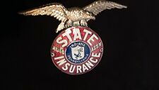 Vintage Antique Advertising State Insurance Brass and Enamel Emblem with Eagle