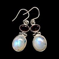 """Rainbow Moonstone, Garnet 925 Sterling Silver Earrings 1 1/2"""" Jewelry E400707F"""