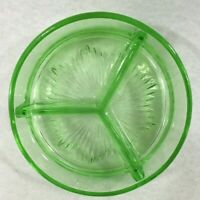 """Vintage Green Vaseline Depression Glass (3) Section Divided Bowl 6.25"""" Uranium"""