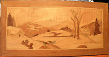 "Folk Art handmade WOODEN PANEL landscape from various woods 21-3/8"" x 10-1/2"""