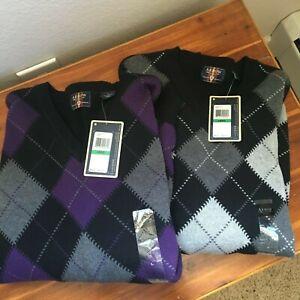 NWT LOT OF 2 NEW mens size L  ARROW cotton argyle sweater $60 cotton