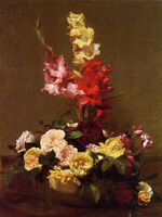 Elegance art Oil painting Latour - Flowers Gladiolas and Roses