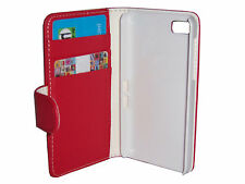 RED FLIP  LEATHER WALLET CASE WITH CARD HOLDER COVER FOR BLACKBERRY Z10 BB10