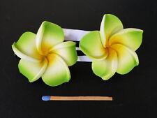 Hawaii Barrettes Duo 6cm Fleurs de Frangipanier Orange Blanc Vert