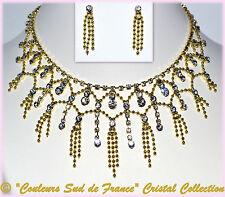 Parure de bijoux mariage soir collier doré boucles d'oreilles clou cristal clair