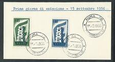1956 ITALIA FDC EUROPA - FRANCOBOLLI APPLICATI SU CARTONCINO