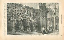Sculpture en Bois Confessionnal Église Saint-Paul d'Anvers GRAVURE PRINT 1863