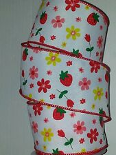 """SPRING RIBBON-WHITE W/FLOWERS & STRAWBERRY PATTERN WIRED EDGE - 2.5"""" X 25' - #8"""