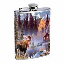 Moose Flask D1 8oz Stainless Steel Elk Deer Herbivore Mammal Forest Animal