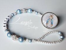 *Peter Rabbit* Bling Baby Blue Shamballa Romany Dummy Clip Boy *Any Name*