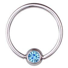 BCR Piercing,Ball Closure Ring,Thickness 1,2 mm | Diameter 8 - 12 mm |Stone Aqua