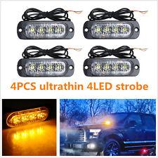 4 Pcs 4-DEL Amber ultrafin Voiture SUV Emergency GYROPHARE FEUX D'AVERTISSEMENT DC12V