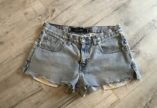 Womens Vtg Levis Silver Tab High Waist Distressed Stains Cut Off Jeans Shorts 30