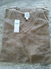 GAP Mens Long Sleeve VNeck Sweater Camel Heather Medium Mint with tags FREE SHIP