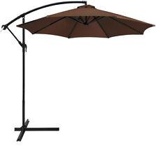 10' Hanging Umbrella Patio Sun Shade Offset Outdoor Market W/ Cross Base Brown