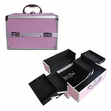 "10"" Pro Aluminum Makeup Train Case Jewelry Box Cosmetic Organizer Pink 4 Trays"