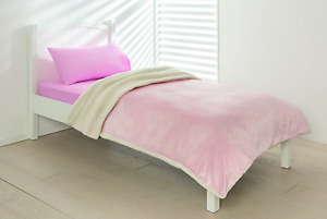 Girls Soft Reversible Fleece Blanket Baby Pink with Silver Speckling  Single Bed