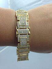 "*2ND QLTY* MENS 14K GOLD GP SIMULATE DIAMOND CUSTOM HIP HOP PAVE BRACELET 8.5""!!"