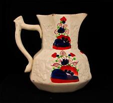 Antique 19th Century Gaudy Dutch Welsh Molded Pitcher Or Jug As Is Chip To Rim