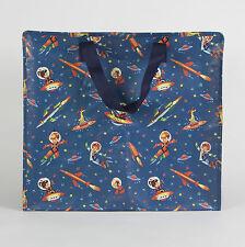 grand SAC RANGEMENT JUMBO BAG motifs ESPACE FUSÉE COSMONAUTE rétro vintage