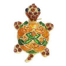 2017 Fashion Women Turtle Tortoise Brooch Pin Gold Rhinestone Crystal Xmas Gifts