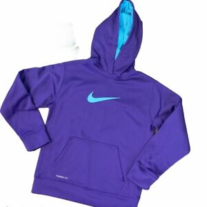 NIKE Kids Youth Therma Fit Pullover Hoodie LARGE L Purple Logo & Pockets Sweater