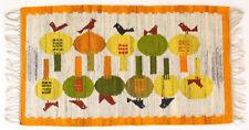 More details for bird courtship vintage folk art hand crafted polish textile wall hanging / rug