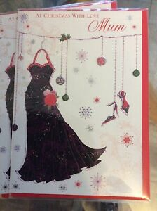 At Christmas With Love Mum. Lovely Design Quality Christmas Card.