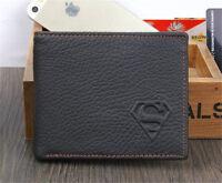 Men's Superman Leather Wallet Bifold Pocket Card/ID Holder Slim Purse Black Bag