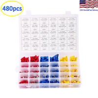 480Pcs Assorted Insulated Electrical Wire Connectors Terminals Crimp Spade Set